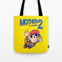 earthbound Tote Bags featuring Mother 2 / Earthbound / Super Mario Bros. 3 Style by Studio Momo╰༼ ಠ益ಠ ༽