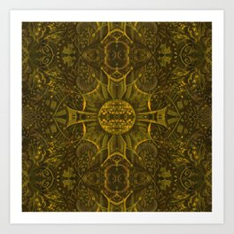 Butterfly Forest Bohemian Arabesque Pattern Old Gold Tobacco Art Print