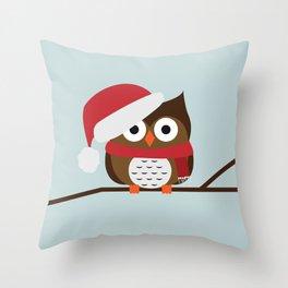 Christmas Owl Throw Pillow