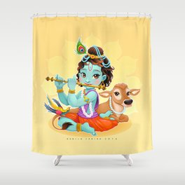 Baby Krishna with sacred cow Shower Curtain