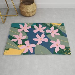 Pink Tropical Flowers and Leaves Rug