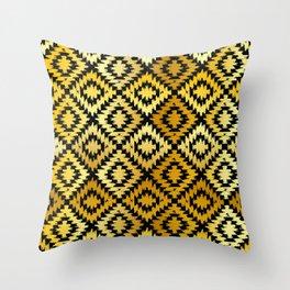 Turkish carpet gold black. Patchwork mosaic oriental kilim rug Throw Pillow