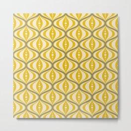 Retro Mid-Century Saucer Pattern in Yellow, Gray, Cream Metal Print