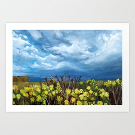 Yellow field with blue sky and flowers Art Print