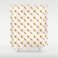 hot dog Shower Curtains featuring Hot Dog Burger Hot Dog by Brianne Burnell