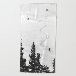 Backcountry Skier // Fresh Powder Snow Mountain Ski Landscape Black and White Photography Vibes Beach Towel