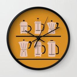 Volturno & French Press Coffee #6 dark orange & vintage pink Wall Clock