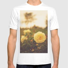 Yellow Roses White Mens Fitted Tee MEDIUM