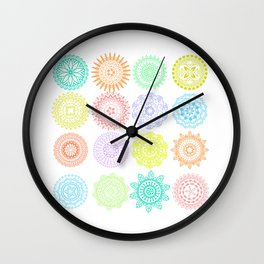Colorful Mandala Patterns Wall Clock