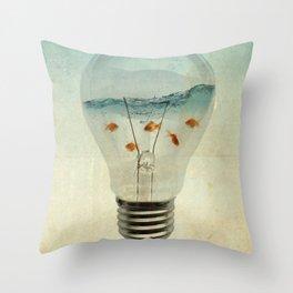 blue sea thinking Throw Pillow