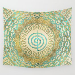 Pastel and Gold  Choku Rei Symbol in Mandala Wall Tapestry