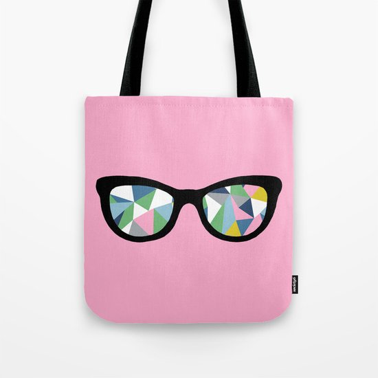 Abstract Eyes on Pink Tote Bag