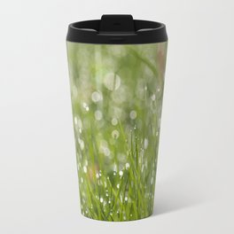 Fresh green meadow - Green grass with waterdroplets sparkling in the sun on #Society6 Travel Mug