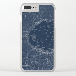Crater Lake Blueprint Map Design Clear iPhone Case