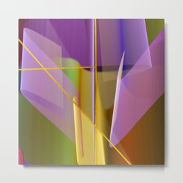 Modern abstract with crossing golden lines Metal Print