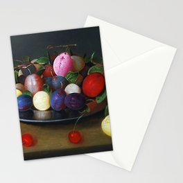Still Life of Summer Plums on a Plate by Jacob van Hulsdonck Stationery Cards