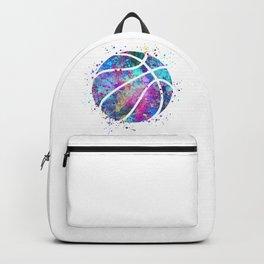 Basketball Ball Colorful Blue Purple Watercolor Art Backpack