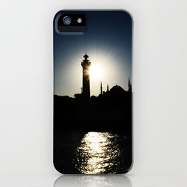 Sunset in Istanbul, view of Airkhapi Lighthouse and the Hagia Sophia Grand Mosque iPhone Case