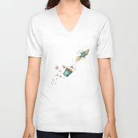 rocket V-neck T-shirts featuring Rocket by Catru