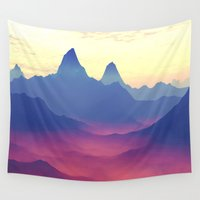 ashton irwin Wall Tapestries featuring Mountains of Another World by Phil Perkins