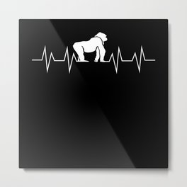 Monkey Gorilla Heartbeat Pulse Gift Metal Print