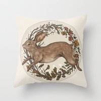 rabbit Throw Pillows featuring Rabbit by Jessica Roux