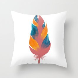 a feather with oil painting in the color of the hole Throw Pillow