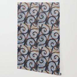 Rusty Metal Grid Gate pattern Illustration Wallpaper