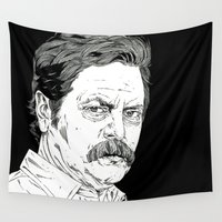 swanson Wall Tapestries featuring Ron Swanson by Andy Christofi