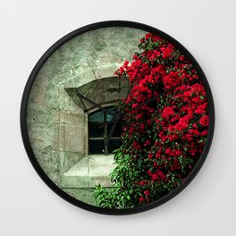 Secret Window Behind the Red Flowers Wall Clock