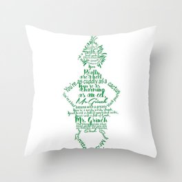 Mr.Grinch Typography Throw Pillow