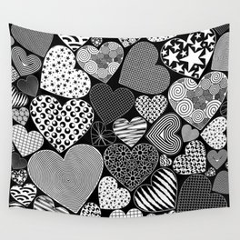 Love Hearts Doodle Art Pattern Wall Tapestry