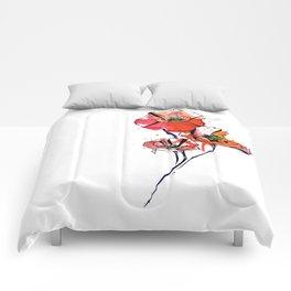 Geometric Watercolor Poppies Comforters