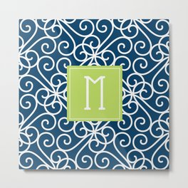 Monogram Shower Curtain Metal Print