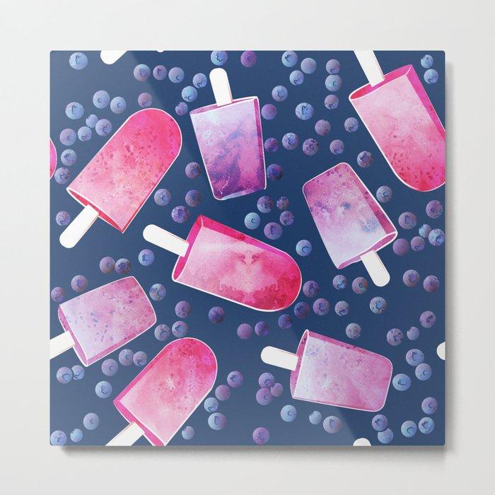 Blueberry Ice Cream Popsicles Metal Print