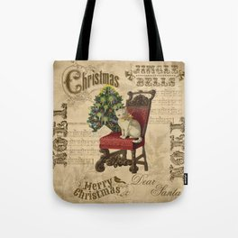 Vintage Christmas Cat Tote Bag