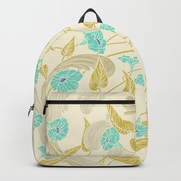 Vintage style ivory teal mustard yellow floral Backpack