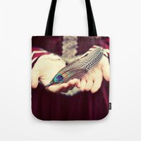 feather Tote Bags featuring feather by elle moss