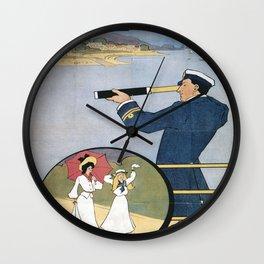 Vintage poster - Coast Line Rail Motor Services Wall Clock