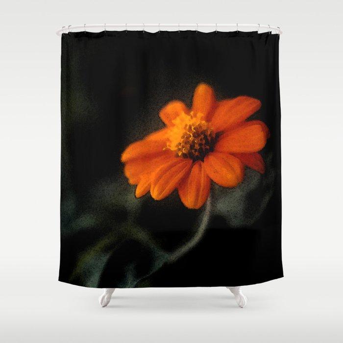Single Orange Flower Shower Curtain