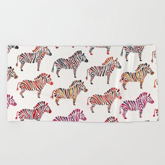 Zebras – Rainbow Palette Beach Towel