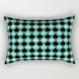 Aqua Mermaid Scales Pattern Rectangular Pillow