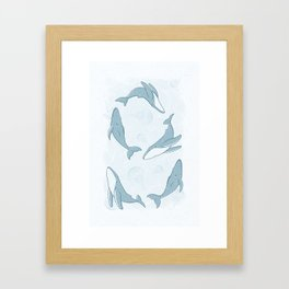 Hand-Drawn Humpback Whale Song in Slate Framed Art Print