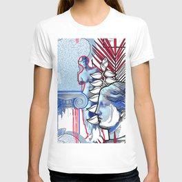Anciet Design with Venus de Milo sculpture, column and flowers T-shirt