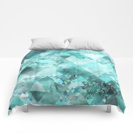 Triangles in aqua - Modern turquoise green blue triangle pattern Comforters