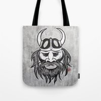 viking Tote Bags featuring Viking by Brushespapers