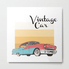 Vintage Car Illustration Metal Print