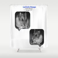 hamster Shower Curtains featuring Hamster Message by Berkeley Banana