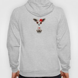 Red Day of the Dead Sugar Skull Chihuahua Puppy Hoody