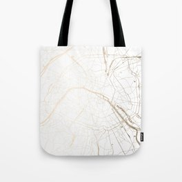Paris Gold and White Street Map Tote Bag